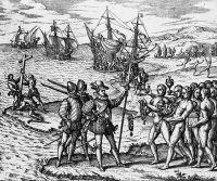 Высадка Колумба на открытом им острове.
